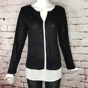 BOBEAU M contrast hem burnout black knit top